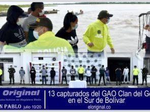 13 capturados del GAO Clan del Golfo en el Sur de Bolívar.