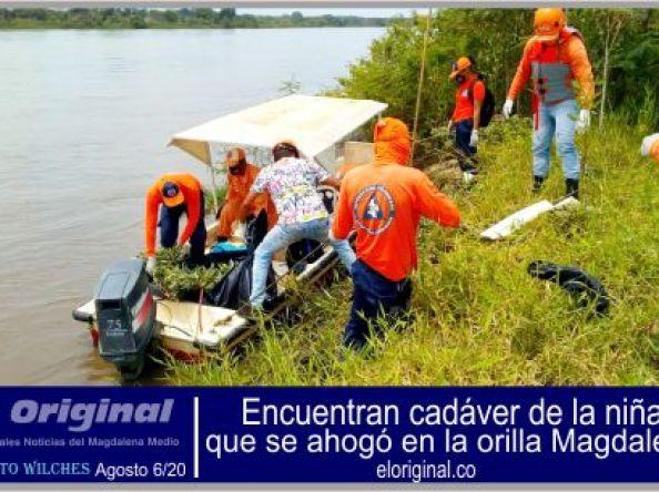 Encuentran cadáver de la niña que se ahogó en la orilla Magdalena