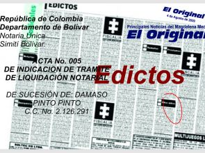 ACTA No. 005 DE INDICACIÓN DE TRAMITE DE LIQUIDACIÓN NOTARIAL