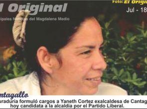 Procuraduría formuló cargos a Yaneth Cortez exalcaldesa de Cantagallo, Bolívar; hoy candidata a la alcaldía por el Partido Liberal.